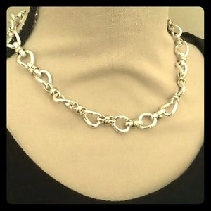 Silver and gold chain necklace 17""